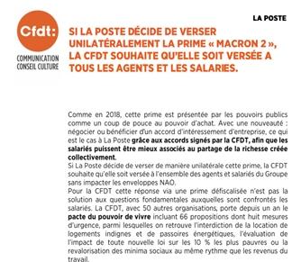 La CFDT interpelle le président de La Poste : La prime «Macron 2» doit être versée à tous  les agents et salariés duGroupe