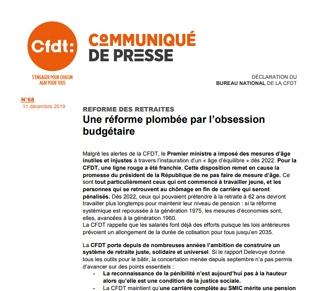Communiqué de presse. Réforme des retraites : une réforme plombée par l'obsession budgétaire