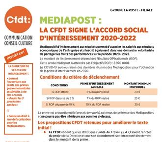 La CFDT signe l'accord d'intéressement 2020-2022