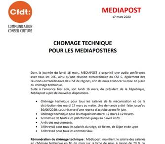 Chômage technique pour lesMediapostiers