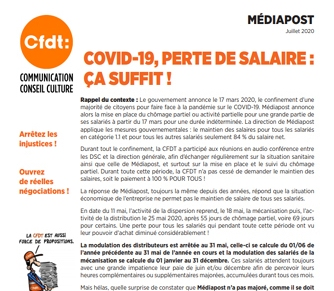 Covid-19, perte de salaire, ça suffit!