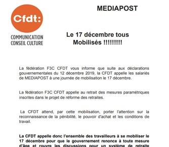 Réforme des retraites : Le 17 décembre tous mobilisés!