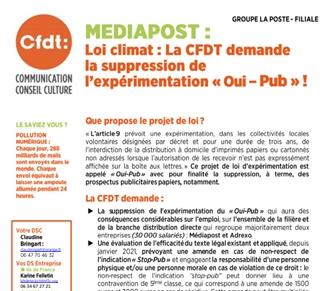 Loi Climat : La CFDT demande la suppression de l'expérimentation Oui-Pub
